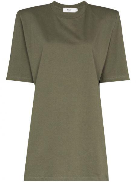 Ватное хлопковое зеленое платье-рубашка Frankie Shop