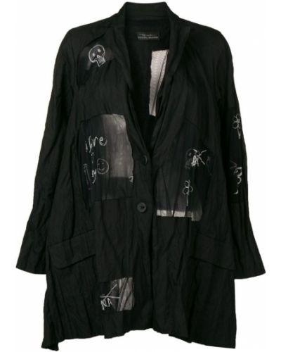 Черное длинное пальто с капюшоном на пуговицах Barbara Bologna