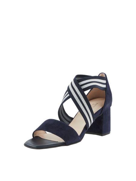 Sandały skórzane na obcasie - niebieskie Peter Kaiser