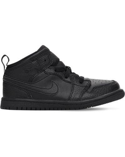 Ażurowy skórzany czarny skórzane sneakersy na sznurowadłach Nike