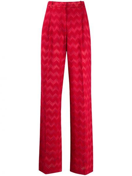Прямые красные брюки с карманами Missoni