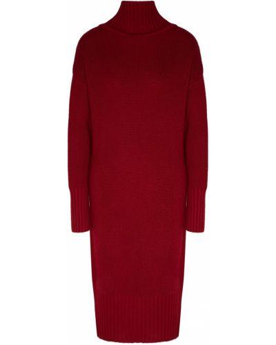 С рукавами вязаное красное платье макси Laroom