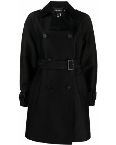 Czarny płaszcz oversize Emporio Armani