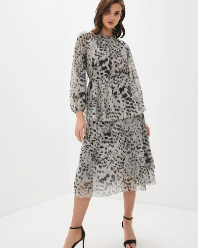 Прямое бежевое платье Trendyol