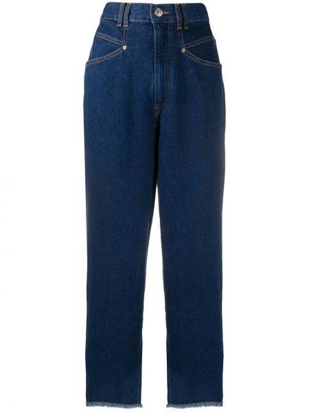 Z wysokim stanem bawełna niebieski jeansy na wysokości z kieszeniami Isabel Marant