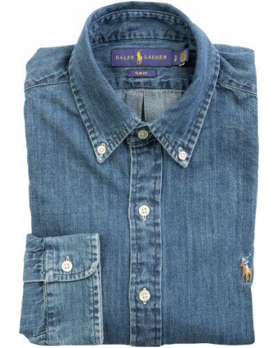 Niebieska koszula jeansowa z długimi rękawami zapinane na guziki Ralph Lauren
