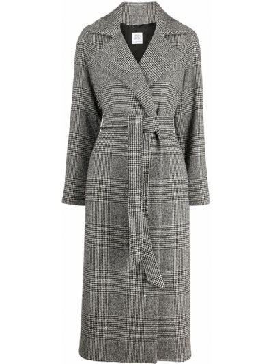 Шерстяное черное пальто классическое двубортное Cinzia Rocca
