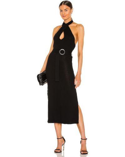 Черное платье-свитер с поясом для полных 525