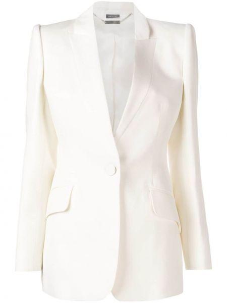 Шелковый белый удлиненный пиджак с карманами Alexander Mcqueen