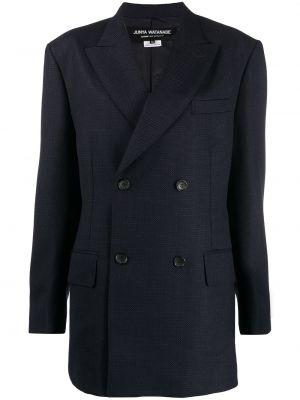 Синий удлиненный пиджак двубортный с карманами Junya Watanabe