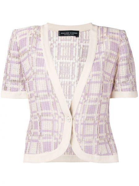 Фиолетовый пиджак с коротким рукавом на пуговицах винтажный Jean Louis Scherrer Pre-owned