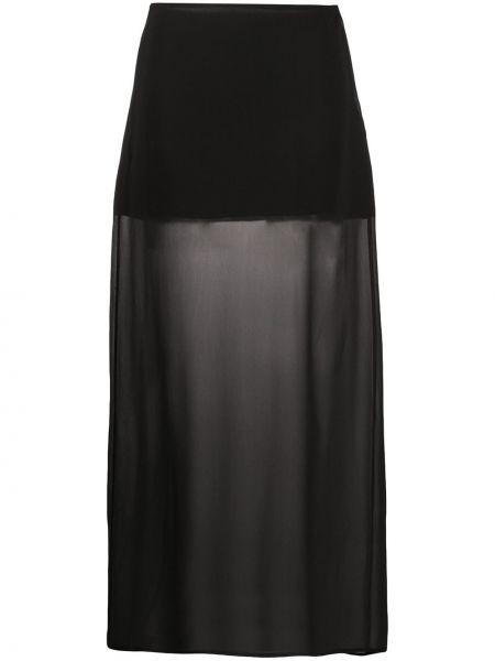 Шелковая черная юбка макси прозрачная Jil Sander Pre-owned