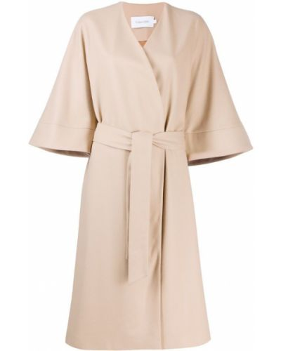Шерстяное пальто с воротником с поясом Calvin Klein