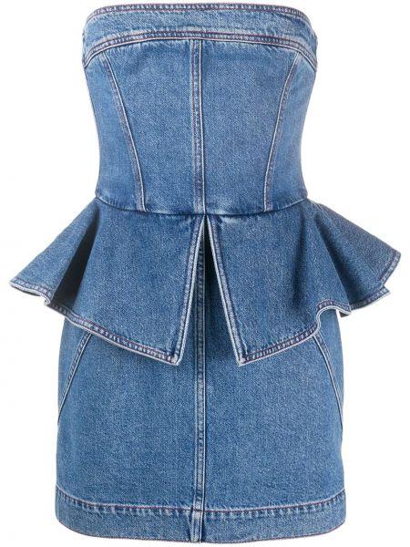 Хлопковое синее джинсовое платье без бретелек Philosophy Di Lorenzo Serafini