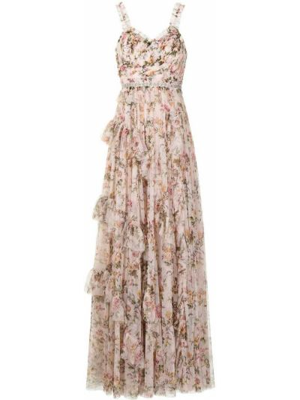 Розовое платье макси с V-образным вырезом с принтом Needle & Thread
