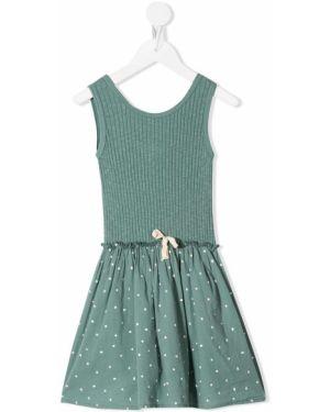 Расклешенное зеленое платье с рукавами с вырезом без рукавов Buho