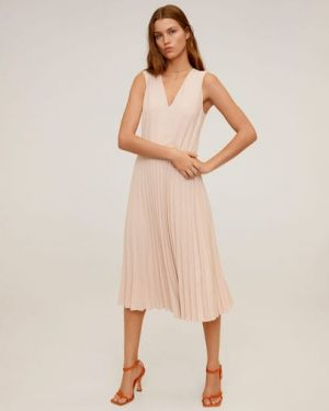 Платье миди с V-образным вырезом с вырезом Mango