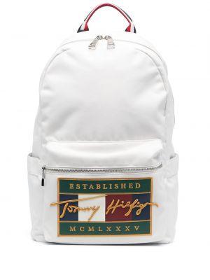 Biały plecak materiałowy z haftem Tommy Hilfiger