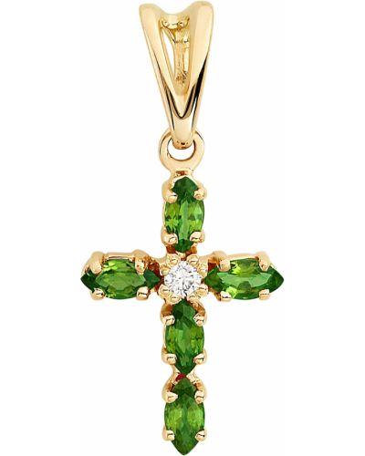 Золотистый крест золотой с изумрудом алькор
