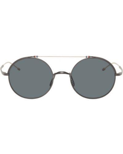 Черные солнцезащитные очки круглые металлические Thom Browne