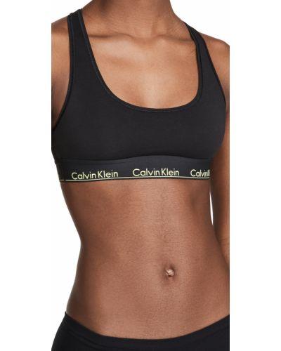Черный хлопковый ватный бралетт Calvin Klein Underwear