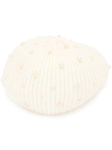 Prążkowany beżowy beret wełniany Jennifer Behr