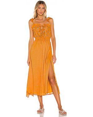 Желтое платье миди с люрексом с поясом Sundress