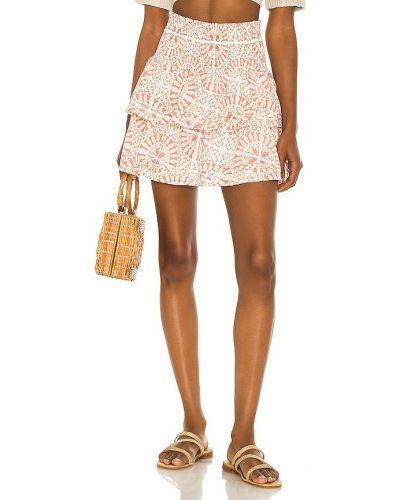 Różowa spódnica mini bawełniana z printem Cleobella