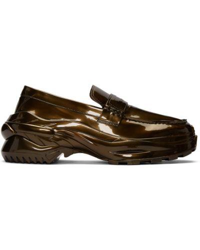 Z paskiem skórzany loafers okrągły na pięcie Maison Margiela