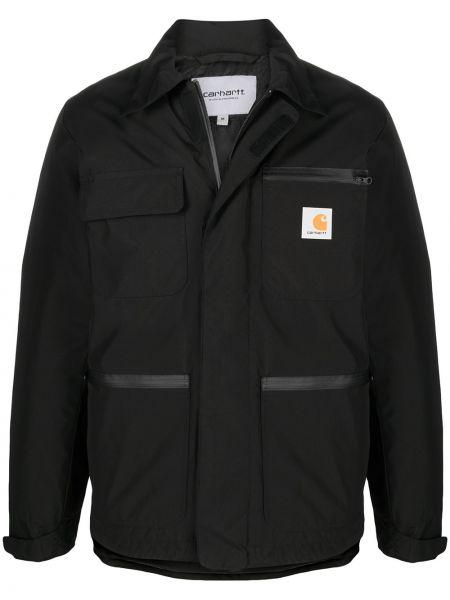 С рукавами черное длинное пальто с накладными карманами Carhartt Wip