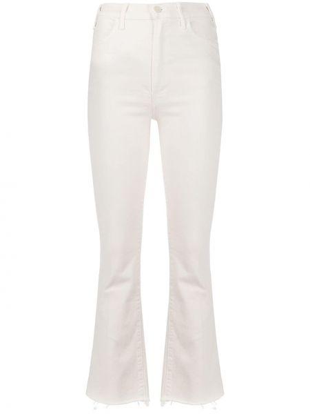 Укороченные джинсы расклешенные белые Mother