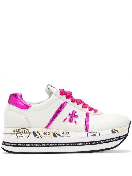 Кожаные кроссовки на платформе розовый Premiata