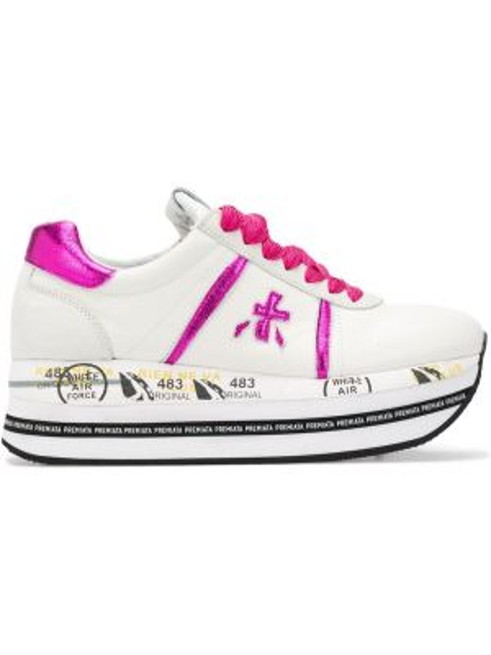 Розовые кроссовки на платформе на шнуровке на каблуке с заплатками Premiata