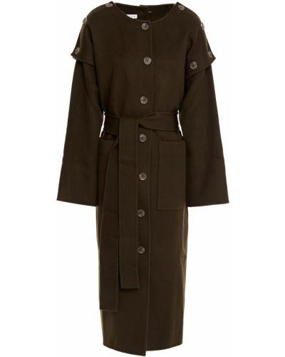 Зеленое шерстяное пальто с карманами Rejina Pyo