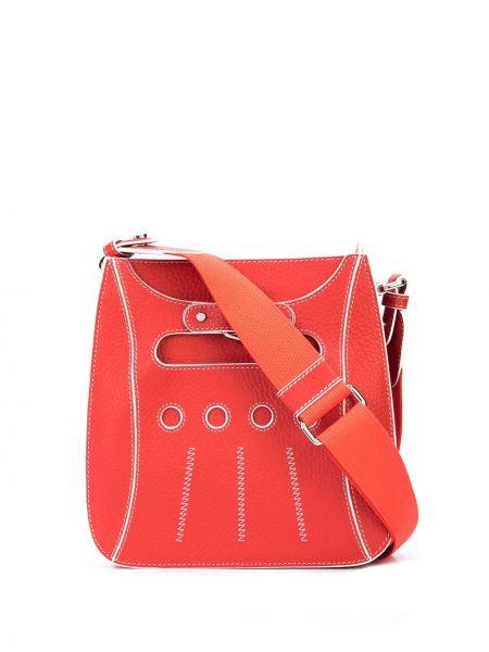 Кожаная красная сумка через плечо с перьями на молнии Perrin Paris