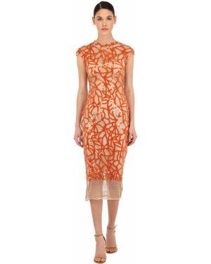 Pomarańczowa sukienka długa z cekinami bez rękawów Sandra Mansour