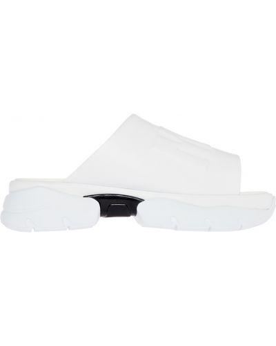 Белые шлепанцы на платформе на каблуке Msgm