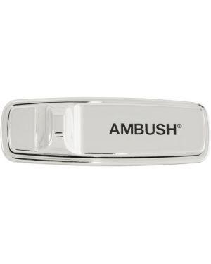 Broszka ze srebra czarny z nadrukiem Ambush