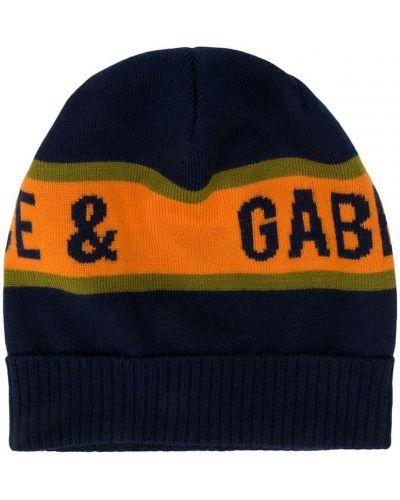 Шерстяная оранжевая шапка бини с опушкой Dolce & Gabbana Kids