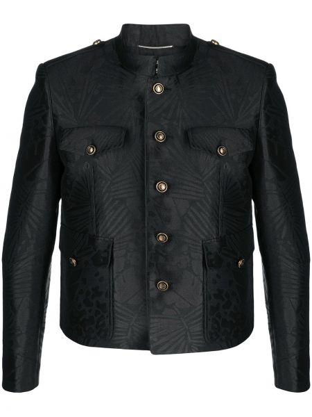 Bawełna z rękawami czarny koszula Saint Laurent