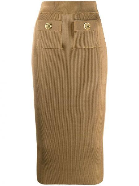 Brązowy z wysokim stanem spódnica z kieszeniami z wiskozy Balmain