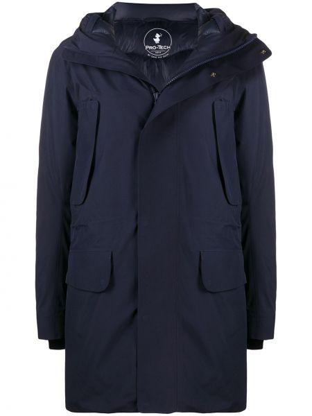 Синее длинное пальто с капюшоном с воротником Save The Duck