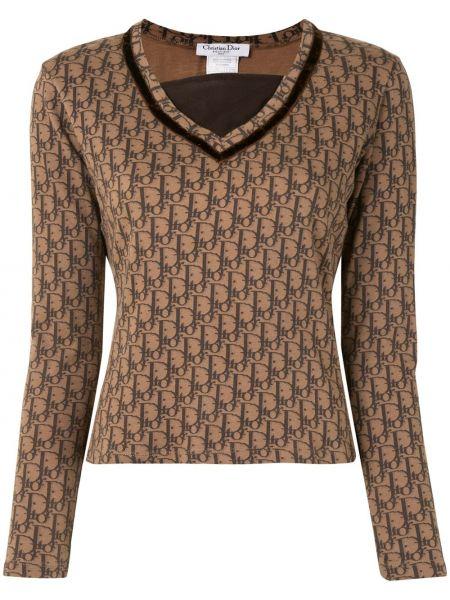 T-shirt z długimi rękawami bawełniany z dekoltem w serek Christian Dior