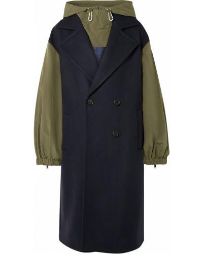 Шерстяное пальто с капюшоном двубортное Monse