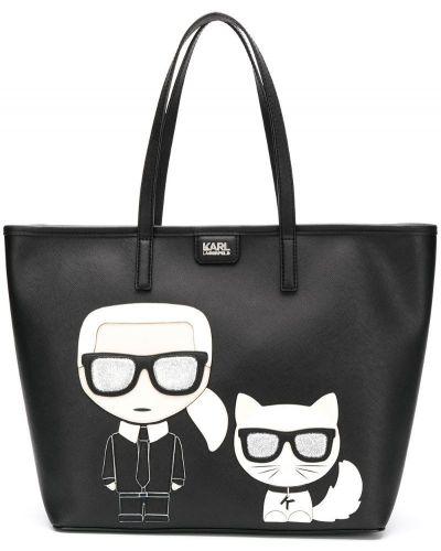 Сумка шоппер черная Karl Lagerfeld