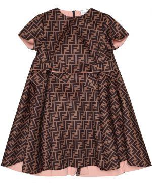 Sukienka satyna czarny Fendi Kids
