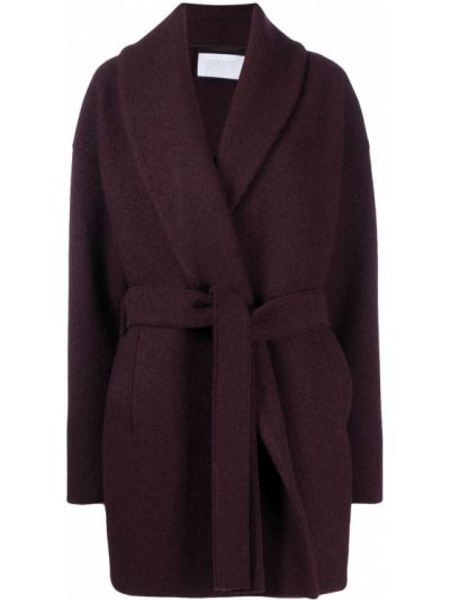 Красное шерстяное длинное пальто с запахом Harris Wharf London