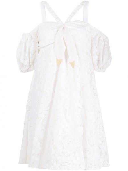 Джинсовое платье с вышивкой через плечо Versace Jeans Couture