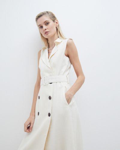 Белое платье А-силуэта с подкладкой из вискозы Zarina