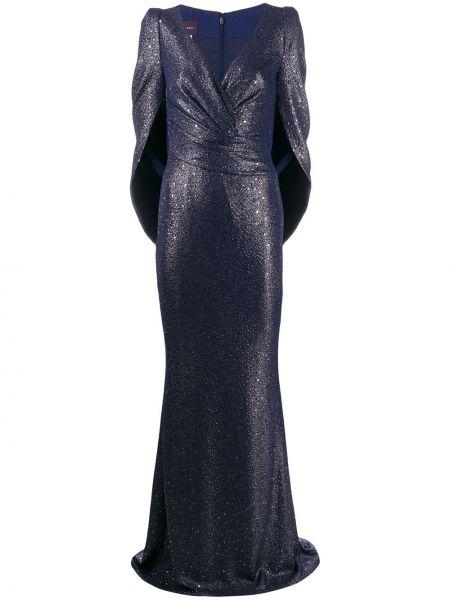 С рукавами синее приталенное платье на молнии Talbot Runhof